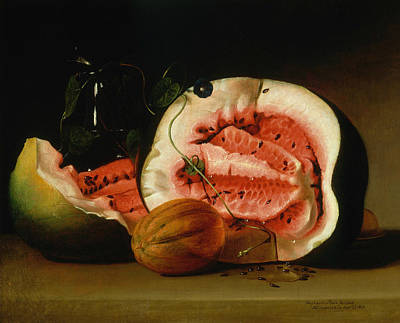 Watermelon Painting - Melons And Morning Glories  by Raphaelle Peale