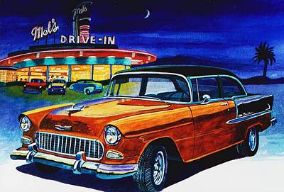 Mels Drive-in Painting - Mel's Drive In by Jeff Blazejovsky