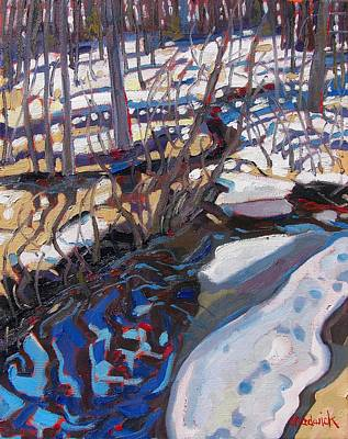 Melt Water And Ice At The Forest Edge Original by Phil Chadwick