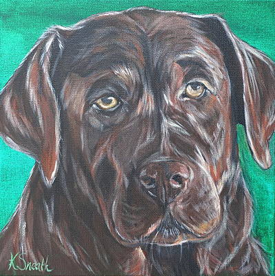 Chocolate Lab Puppy Painting - Melted Chocolate by Kirsten Sneath