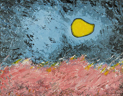 Melting Moon Over Drifting Sand Dunes Original by Ben and Raisa Gertsberg