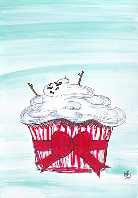 Melty Snow Man Cuppy Cake Original by Cheryl Seagraves