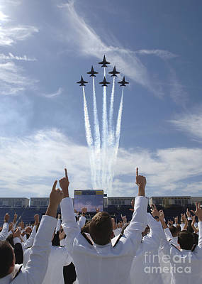 Of Woman Photograph - Members Of The U.s. Naval Academy Cheer by Stocktrek Images