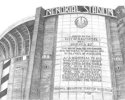 Baseball Parks Drawing - Memorial Stadium by Juliana Dube