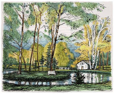 Old Europe In Stone Lithography. Golden Autumn Birch Foliage And Trees On Little Pond Island In Park Print by Elena Abdulaeva