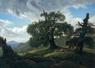 Carl Gustav Carus Painting - Memory Of A Wooded Island In The Baltic Sea. Oak Trees By The Sea by Carl Gustav Carus