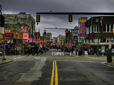 Memphis - Beale Street 001 Print by Lance Vaughn