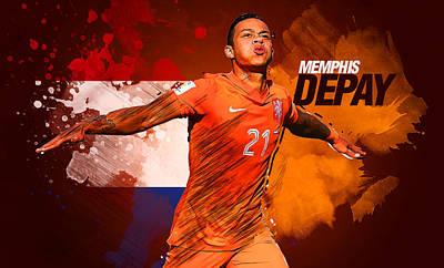 Cristiano Ronaldo Digital Art - Memphis Depay by Semih Yurdabak