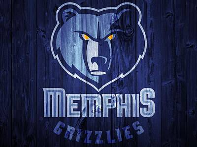 Blue Barn Doors Mixed Media - Memphis Grizzlies Barn Door by Dan Sproul