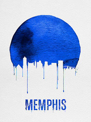 Memphis Skyline Blue Print by Naxart Studio