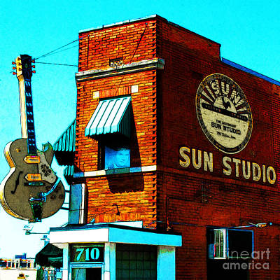 Rhythm And Blues Digital Art - Memphis Sun Studio Birthplace Of Rock And Roll 20160215sketch Sq by Wingsdomain Art and Photography