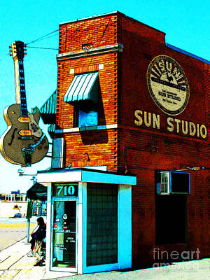 Rhythm And Blues Digital Art - Memphis Sun Studio Birthplace Of Rock And Roll 20160215sketch by Wingsdomain Art and Photography