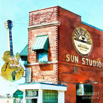 Rhythm And Blues Digital Art - Memphis Sun Studio Birthplace Of Rock And Roll 20160215wcstyle Square by Wingsdomain Art and Photography