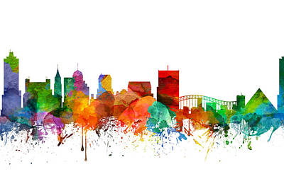 Towns Digital Art - Memphis Tennessee Skyline 21 by Aged Pixel
