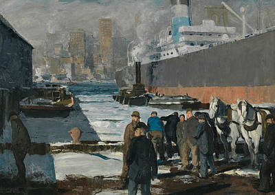 George The Painter Painting - Men Of The Docks by George Bellows