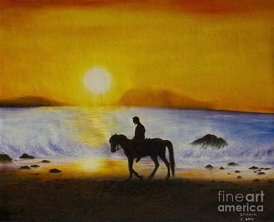 Painting - Men Ride Horses On The Beach With Sunset. by Fine art Photographs