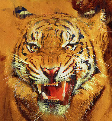 Growling Painting - Menacing Tiger by Clarence Alford