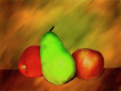 Pear Digital Art - Menage A Troi by Kurt Van Wagner