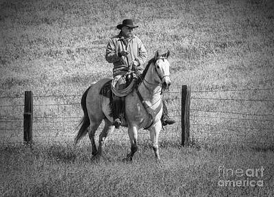 Mending Fences - Montana Print by Sandra Bronstein