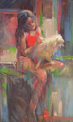 Menina Com Cachorro Print by Sousa Rodrigues