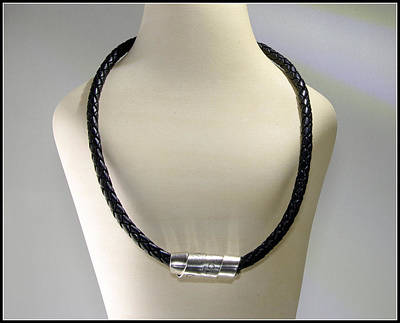 Sterling Silver Photograph - Mens Bolo Braided Black Leather Silver Necklaceengraved Scroll Men Dude Guy Man Rustic Rugged Tough  by Nadina Giurgiu