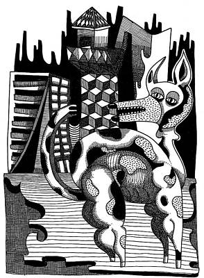 Mental Structures And Dog Print by Rafael Trabasso