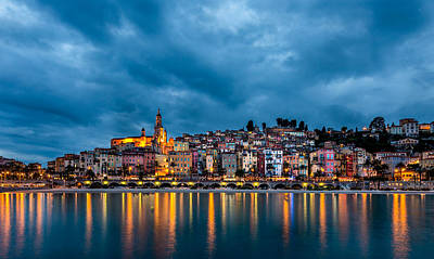 Menton Photograph - Menton Twilight by Ennio Pozzetti