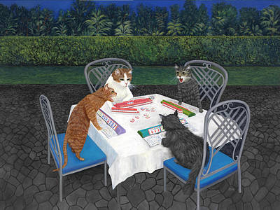 Humorous Cat Painting - Meowjongg - Cats Playing Mahjongg by Karen Zuk Rosenblatt