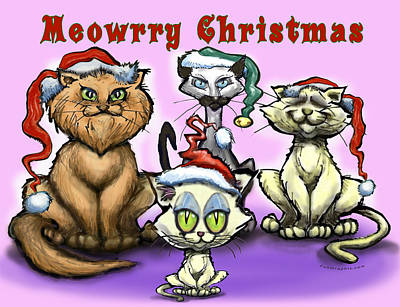 Cartoon Digital Art - Meowrry Christmas by Kevin Middleton