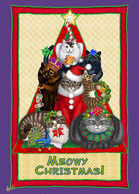 Gray Tabby Digital Art - Meowy Christmas by Michelle Guillot
