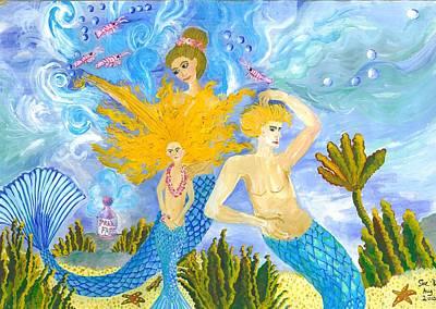 Mermaid Painting - Mer Mum And Comb by Sushila Burgess