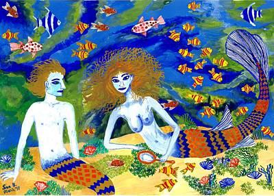 Sue Burgess Painting - Mer Quarrel by Sushila Burgess