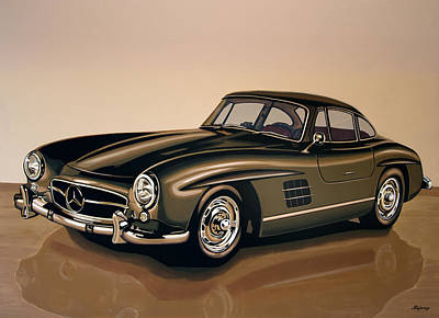 Antique Car Painting - Mercedes Benz 300 Sl 1954 Painting by Paul Meijering