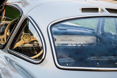 Mercedes Benz 300 Classic Car Photograph - Mercedes-benz 300sl Steering Wheel -0142c by Jill Reger