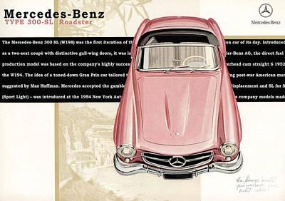 Vehicle Digital Art - Mercedes-benz Sl 300 Roadster by Yurdaer Bes