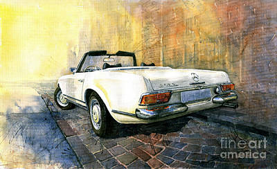 Vintage Cars Painting - Mercedes Benz W113 280 Sl Pagoda by Yuriy  Shevchuk
