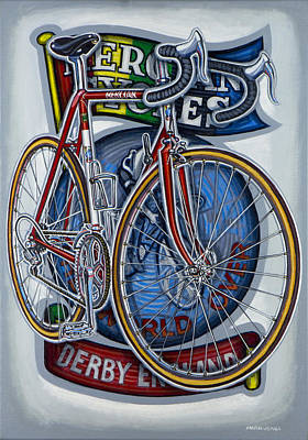 Painting - Mercian Flam Red Road Bicycle by Mark Howard Jones