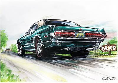Road Rod Painting - Mercury Cougar On The Road  by Geoff Latter