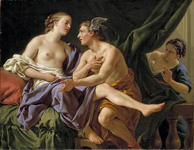 Louis-jean-francois Lagrenee Painting - Mercury Herse And Aglauros by Louis-Jean-Francois Lagrenee