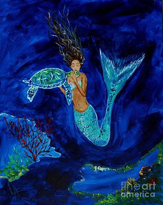 Under The Ocean Painting - Mermaid And The Sea Turtle by Leslie Allen