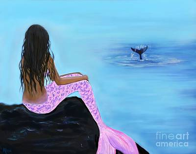 Painting - Mermaid And The Whale by Leslie Allen