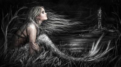 Windblown Digital Art - Mermaid At Midnight by Justin Gedak