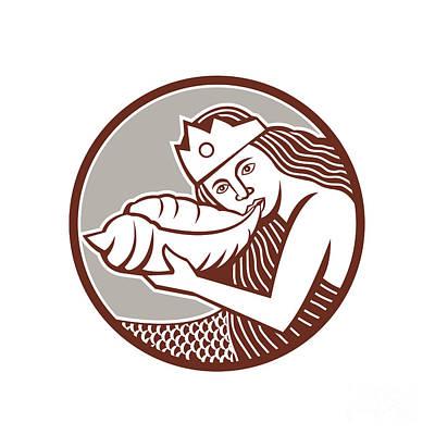 Mermaid Blowing Conch Shell Circle Retro Print by Aloysius Patrimonio