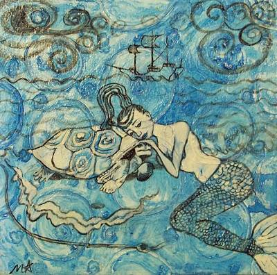 Pirate Ship Painting - Mermaid Blues by Marlena Hatchel