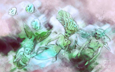 Mermaid Digital Art - Mermaid Generations by Methune Hively