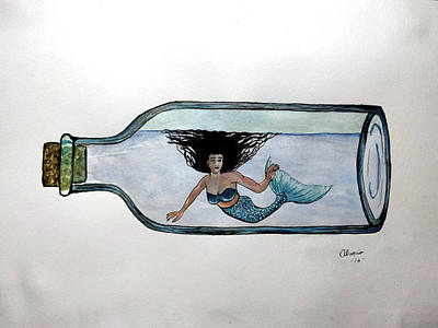 Mermaid In A Bottle Print by Edwin Alverio
