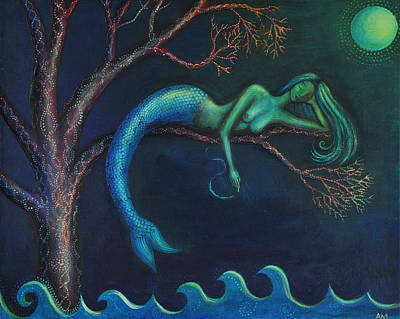 Mermaid In A Tree Print by Alice Mason