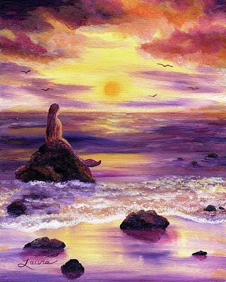 Magenta Painting - Mermaid In Purple Sunset by Laura Iverson