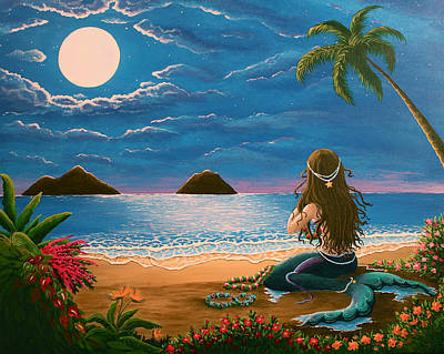 Mermaid Making Leis Print by Gale Taylor