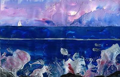 Encaustic Painting - Mermaid Reef by Danita Cole